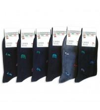 意大利莱尔棉带花纹踝长男袜 (6双)