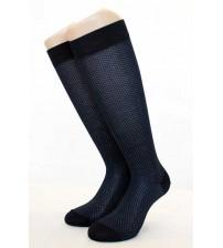 意大利莱尔丝光棉光点图形膝长男袜    (6双)
